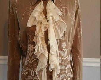 ON SALE Jeff Gallano Paris. Cotton Embroidered Blouse Size M