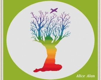 Cross Stitch Pattern Silhouette Tree Woman ornament druid rainbow monochrome Counted Cross Stitch Pattern/Instant Download Epattern PDF File