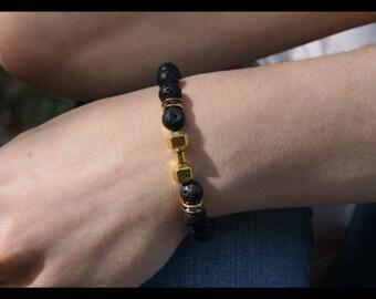 Lava stone diffuser bracelet, fitness motivation bracelet 8mm gold accents