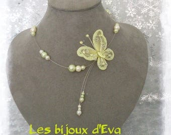 Necklace with butterfly lime and ivory cable