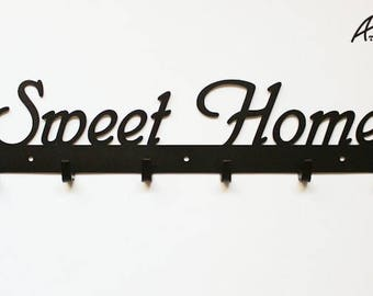 Sweet Home Coat and key rack, black or white, gift, idea