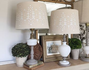 Pair of Lamps, Vintage Milk Glass Lamps, Vintage Lamps, French Lamps, Country French Decor, Cottage Living Room, Bedroom Lamps, Painted #035