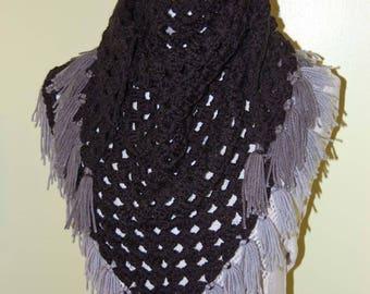 black scarf, triangle fringe scarf, crochet scarf, shawl, black crochet shawl, black and gray scarf, winter scarf, fall trends, fall fashion