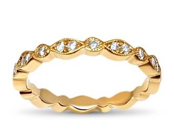 Diamond Yellow Gold Art Deco hand milgrain eternity band  1/4 CTW - Art Deco natural  diamond wedding ring