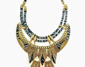 Congo - Black & Gold Statement Necklace