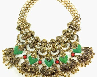 Pranay - Gold & Green Statement Necklace