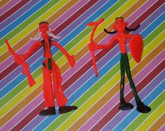 Vintage Lot of 2 1970s Indian Bendy Figures (Neon Colored)