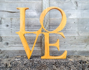 LOVE Wood Freestanding Custom Made Script Sign Wood Art, Wedding decor, Home decor, Christmas Gift, Mother's day