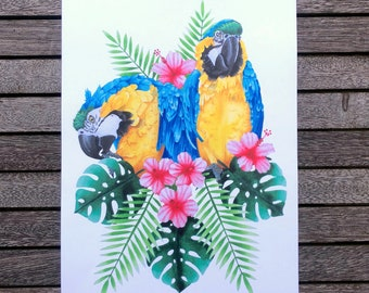 Blue Macaws A4 Print