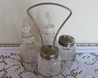 "Glass Condiment Set Made in England Salt, Pepper, Oil, Vinegar 5"" by 6"""