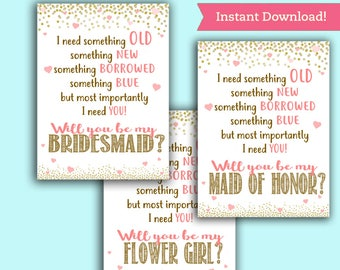 Will you be my Bridesmaid/ Maid of Honor/ Flower Girl Cards - Wedding Party Proposal - Printable PDF, Instant Download Ask Pop the Question