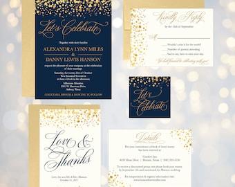 navy faux gold glitter wedding invitation template elegant printable invite suite editable text - Wedding Invitation Set