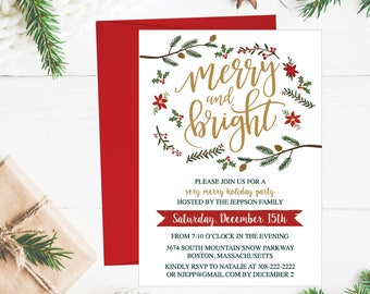 Christmas Party Invitation Template, Rustic Winter Wreath and Gold Printable Invite, Editable Text Instant Download DIY Holiday Invite PDF