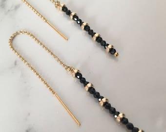 Black Spinel Thread Earrings Threaders Gold Filled Chain Earrings Needle Earrings Gold Jewelry Everyday Earrings Simple Earrings Drop Earrin
