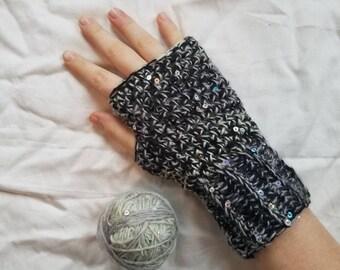 Gray and Black Fingerless Gloves, Grays Fingerless Gloves, Crochet Fingerless Gloves, Women's Gloves, Women's Fingerless Gloves, Gloves
