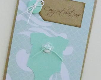 Baby Card, New Baby Congratulations Card, Its a Boy, Its a Girl, Homemade Baby Card, New Parents, Baby Shower, Handcrafted Baby Card,