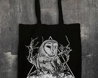 Owl Tote Bag - owl, tree, bird, mountains, triangles, animal, barn owl