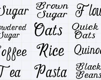 Kitchen Labels - Vinyl Decal Labels - Black Kitchen Labels