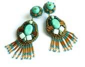 Boucles d'oreilles brodées, boucles d'oreilles style ethnique, boucles d'oreilles turquoise et topaze