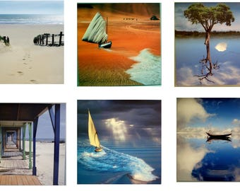 Set of 6 postcards in scrap on the theme of the sea