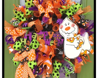 Halloween Wreath, Candy corn wreath, Candy Ghost Wreath, Ghost Halloween Wreath, Candy Corn Halloween Wreath, Happy Halloween wreath