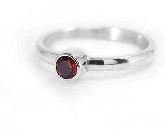 Garnet Ring | January Birthstone Ring | Red Garnet Jewelry | 925 Sterling Silver Ring | Gemstone Ring | Stacking Ring | UK