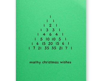 Pascals Triangle Holiday Card - Mathy Christmas Wishes - Pascal's Number Sequence Math Nerd Geek Card - Blaise Pascal
