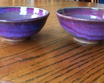 Set of two purple cereal bowls, 2 lavender and light purple bowls