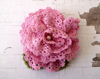 Pink flower brooch made from hand dyed crochet, repurposed