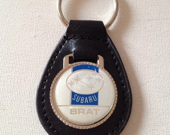 Subaru Brat Black Leather Key Chain