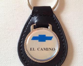Chevrolet El Camino Keychain Black Leather Chevrolet Key Chain