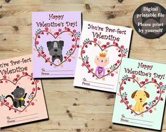 Puppy Valentines Day Cards, Cat Valentines Day Cards, Kids Valentines, Dog, Kitten, Valentines Cards For Kids, Printable Digital File