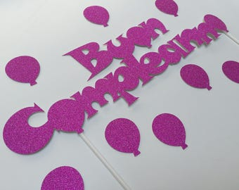 Cake topper birthday glitter cardstock. Happy birthday. Different colors available