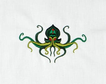 Cthulhu horizontal placement machine embroidery design 4x4