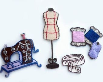 set x 4 applique fusing sewing theme haberdashery - small size from 2 to 6 cm