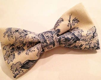 Blue French toile de jouy bowtie