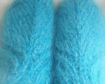 Blue hand knit socks, mohair blend thick slippers,UK 6-8, US 6-9,EU 39-41.
