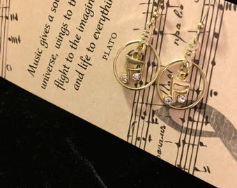 Musical Charm Earrings, Golden Metal with Music Note Charm, Music Lovers Gift