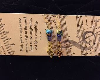 Musical Treble Clef Charm Earrings, Square Blue Millefleurs Glass Beads, Music Charm, Music Lovers Gift