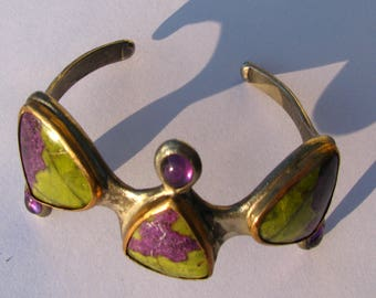 925 silver and bronze hand made  bracelet