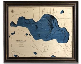 Big Blue Lake Dimensional Wood Carved Depth Contour Map - Customize With Your Home Information