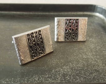 Swank Cuff Links Men's - Vintage Silver Black Scroll Design - Man's Cuff Link Set - Father's Day