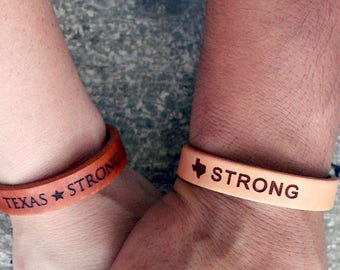 Hurricane Harvey Donation- leather bracelet- Texas Strong -- Leather Bracelet - Bracelet - Leather Bracelet- Leather Cuff-Personalized