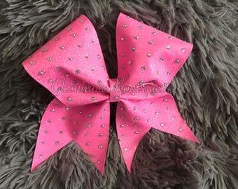 Rhinestone neon pink cheer bow