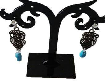 OWL earrings light blue beads