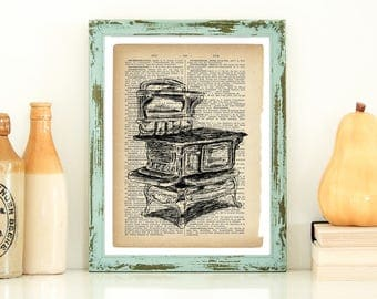 Dictionary Print, Antique Stove Print, Kitchen Wall Decor, Country Home Decor, Rustic Kitchen, Vintage Style Art, Instant Download, Gift
