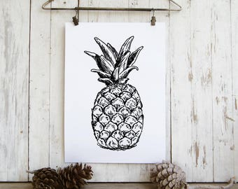 Pineapple sketch - Black and white pineapple print, Printable wall art, A4 Art print, DIY home decor, Teen room decor