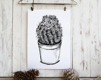 Botanical Wall Art, Cactus Print clip art, Cactus Printable, Botanical Print, Nature Wall Art, Cactus Poster, Black and White Prints