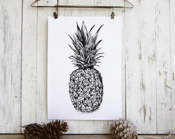 Pineapple Wall Decor, Black And White Pineapple Poster, Tropical Wall Art, Pineapple Art, DIY Home Decor, Teen Room Decor, Dorm Decor