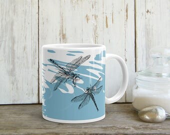 Dragonflies Mug, Coffee Mug, Tea Cup, Gift For Her, Tea Mug, Drink Gifts, Blue White Mug, Dragonfly Print, Drink Ware, Printed Mug